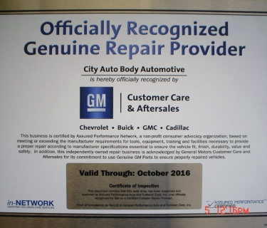 GM Recognized Genuine Repair Provider