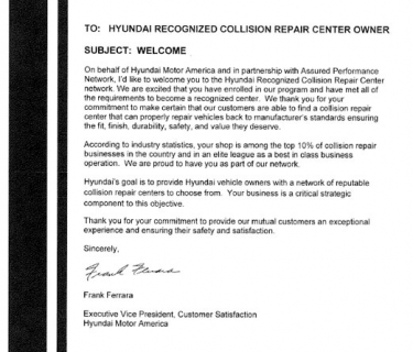 Hyundai Recognized Collision Repair Center