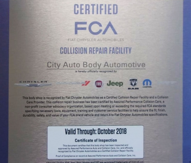 Fiat Chrysler Recognized Certified Collision Repair Facility