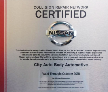 Nissan Recognized Certified Collision Repair Facility