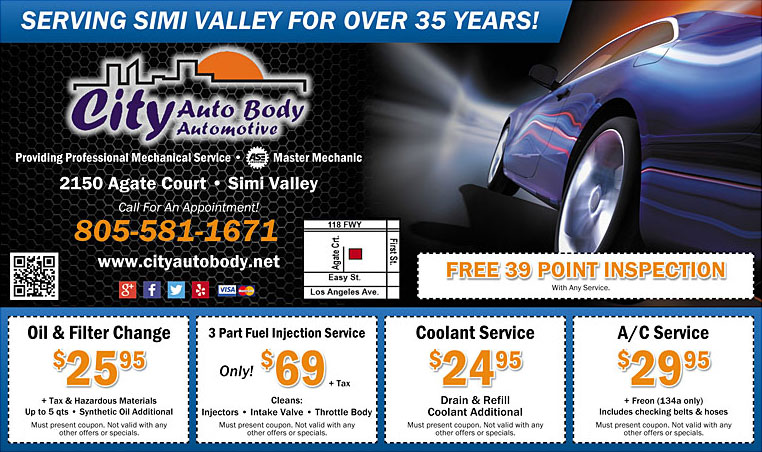 Auto Maintenance & Repair Coupons - oil & filter change, fuel injection service, coolant service, A/C service